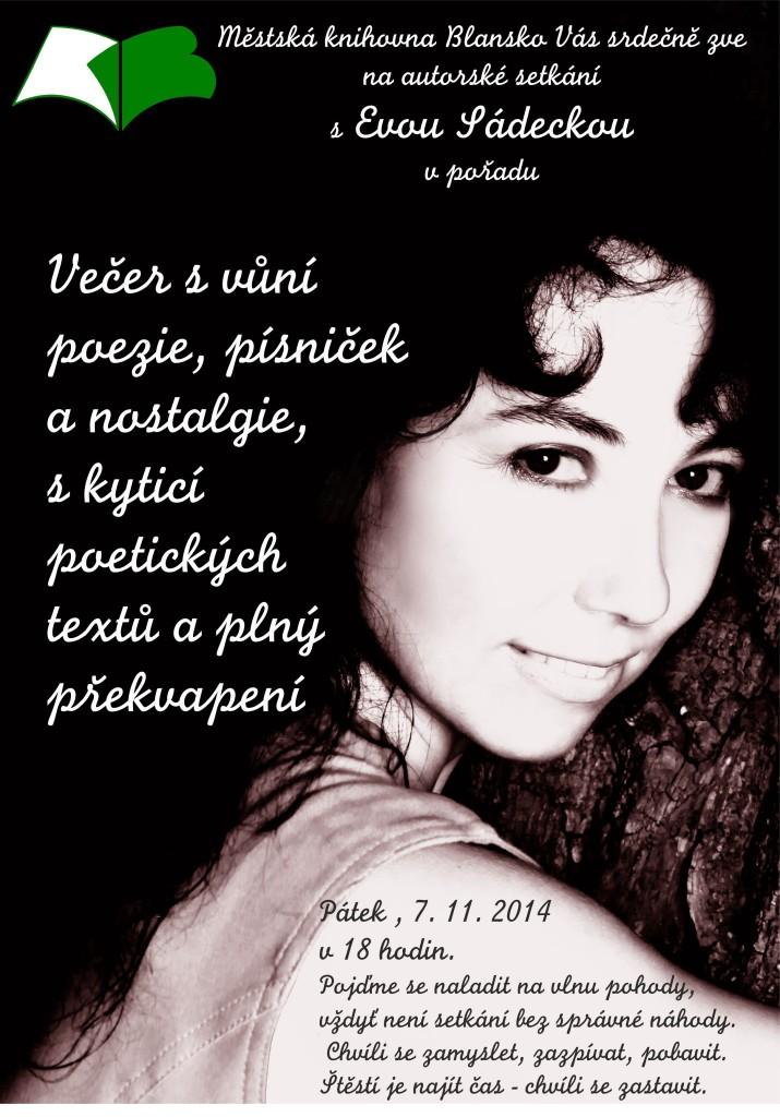 Plakát + pozvánka - DEN POEZIE 2014 - Eva Sádecká