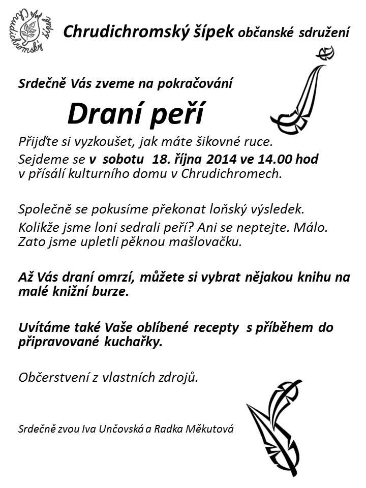 Pozvánka na draní peří 2014