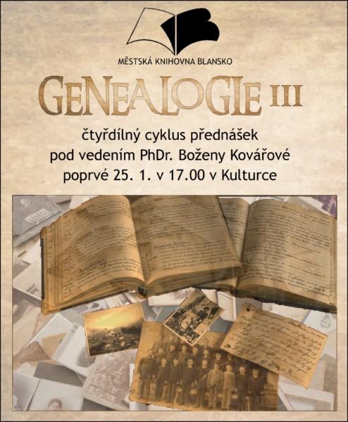 Plakát + pozvánka - 1. přednáška B. Kovářové - GENEALOGIE III., 25.1.2017